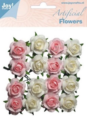 Joy! Crafts - Artificial Flowers roos wit/roze 6370/0065