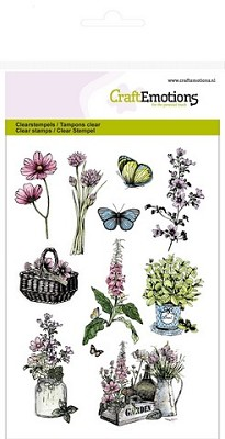 CraftEmotions clearstamps A6 - kruiden mand, kistje Life and Garden