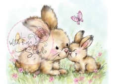 Wild Rose Studio`s A7 stamp set Spring Bunnies CL451