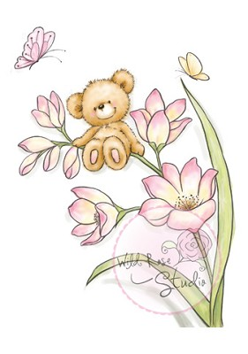Wild Rose Studio`s A7 stamp set Bear on flower CL484