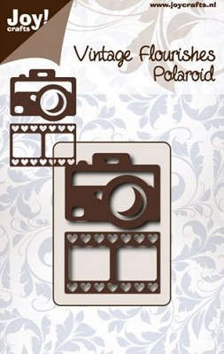 Joy! Crafts - Snijstencil vintage flourishes - Polaroid camera met filmstrip hart