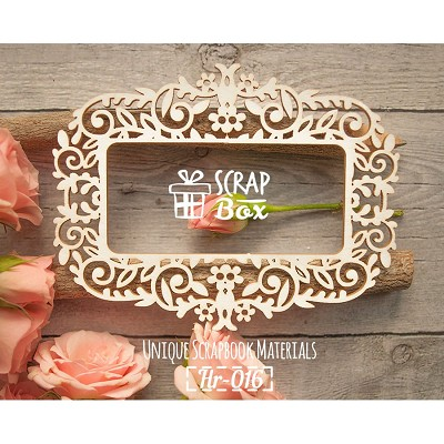 "Chipboard frame ""Floral ornament with flowers"" Hr-016"