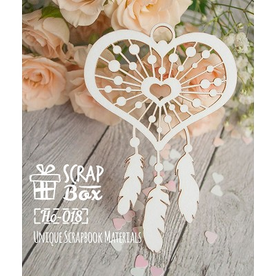 "Chipboard ""Dreamcatcher in heart shape"" Ho-018"