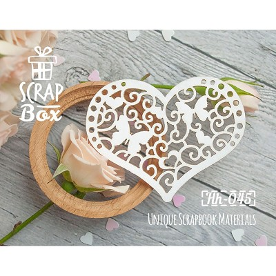 "Chipboard ""Decorative heart with butterflies"" Hh-045"
