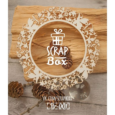 "Chipboard of round frame ""flowers with butterflies"" Hr-001"