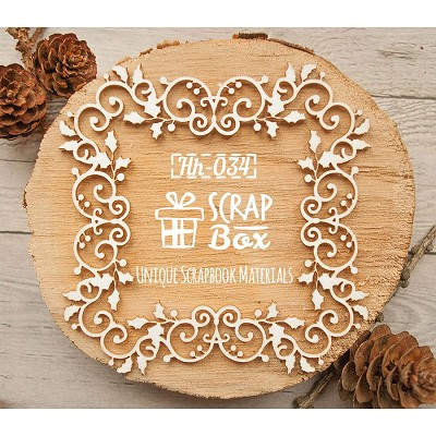 Chipboard openwork frame with Christmas holly Hh-034