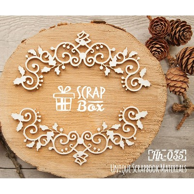 Chipboard openwork frame with Christmas holly Hh-035