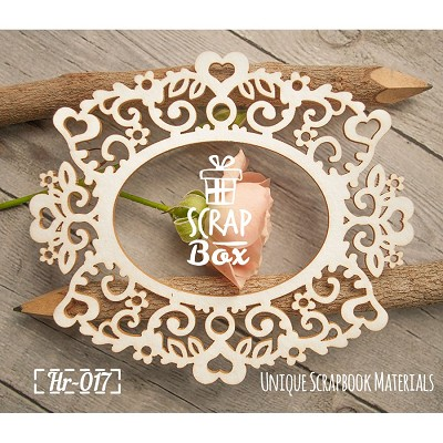 "Chipboard ""Lace frame with flowers and hearts""  Hr-017"