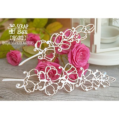 Chipboard two sprigs of flower Hf-072
