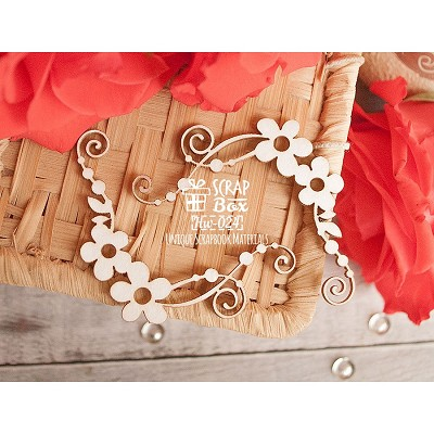 Chipboard floral corner with swirls Hw-024