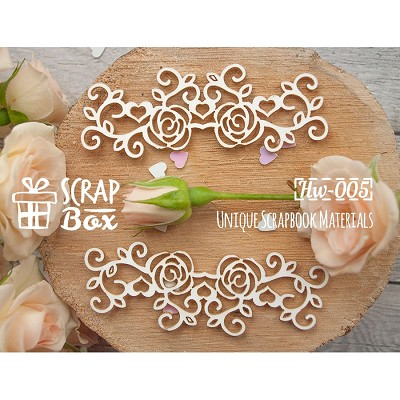 "Chipboard border ""Roses with swirls and hearts""  Hw-005"