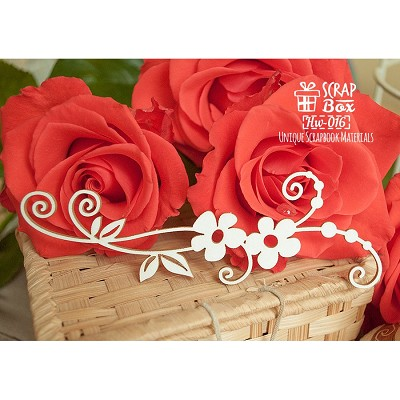 Chipboard branch flower border with swirls Hw-016