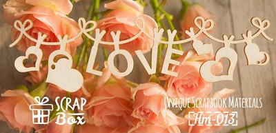 "Chipboard ""Inscription Love on the rope"" Hm-013"