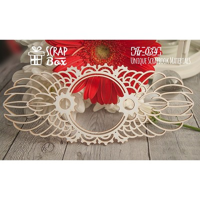 "Chipboard frame with wings ""Steampunk"" №2 Hr-034"