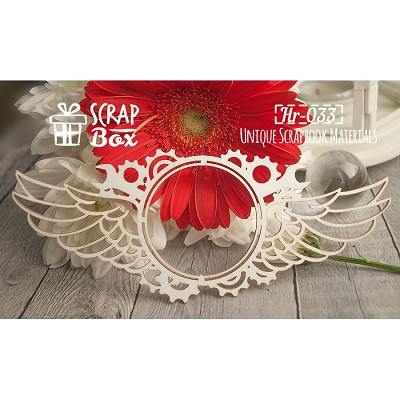 "Chipboard frame with wings ""Steampunk"" №1  Hr-033"