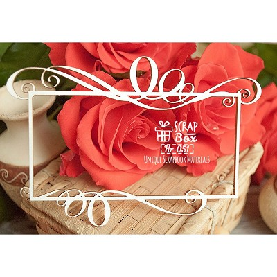 Chipboard frame with monograms Hr-051