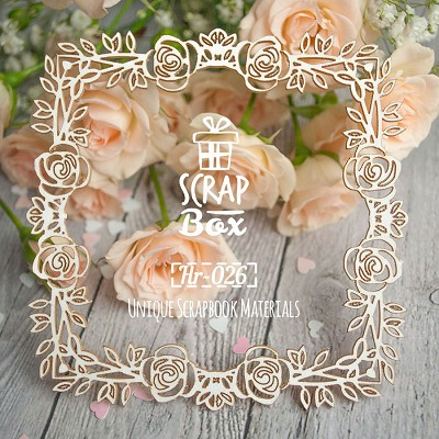 "Chipboard square frame ""Roses"" №2 Hr-026"