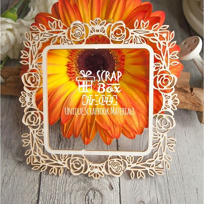 "Chipboard square frame ""Roses"" Hr-044"