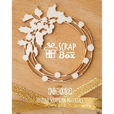 Chipboard Christmas wreath with holly Hh-030