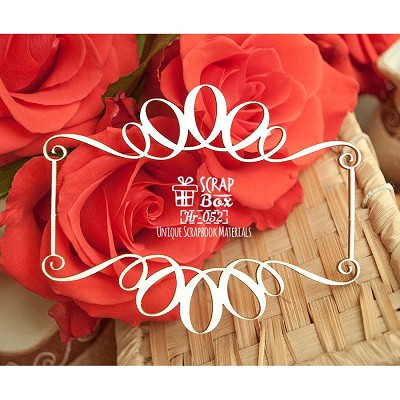 Chipboard frame with monograms Hr-052