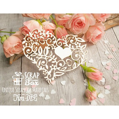 "Chipboard ""Lacy heart with flowers and leaves"" Hm-019"