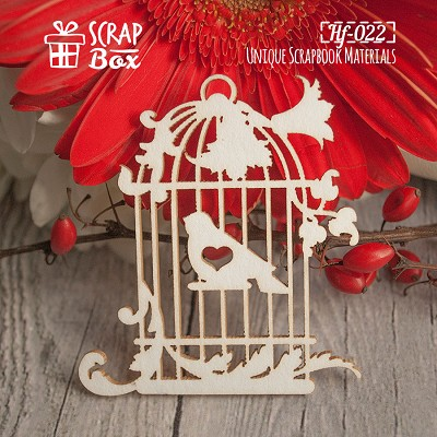 Chipboard cage with a bird №1 Hf-022
