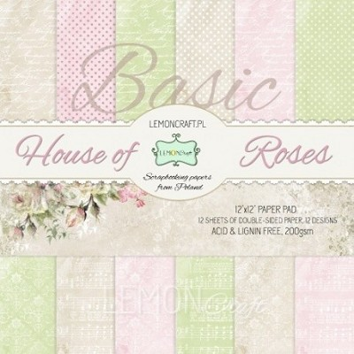 Stack of basic scrapbooking papers - House of roses