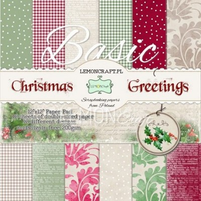 Stack of basic scrapbooking papers - Christmas Greetings
