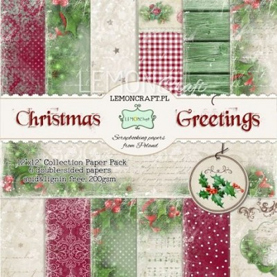 Set of scrapbooking papers - Christmas Greetings
