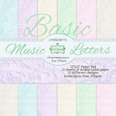 Stack of basic scrapbooking papers - Music Letters 12x12