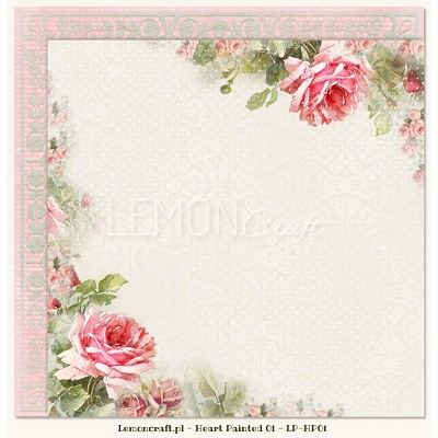 Double sided scrapbooking paper - Heart Painted 01