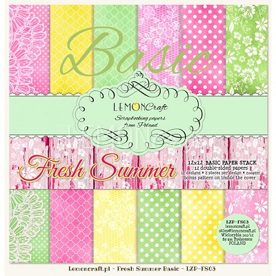 Lemoncraft Stack of basic scrapbooking papers - Fresh Summer 12 x 12