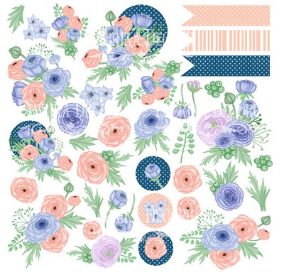 Fabrika Decoru - Paper with cards for cutting Set Flower mood 12 x12 inch