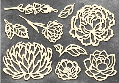 Fabrika Decoru - Chipboards set Flowers 1