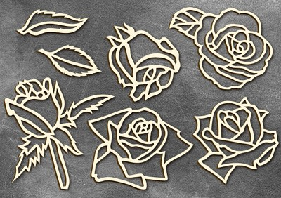 Fabrika Decoru - Chipboards set Roses