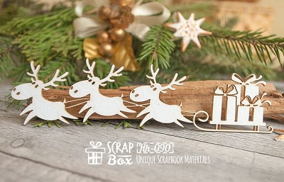 Chipboard reindeer with gifts Hh-090