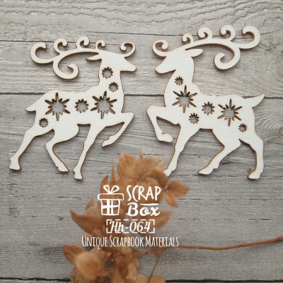 Chipboard reindeer with stars Hh-064