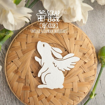 Chipboard  rabbit with wings Hf-028
