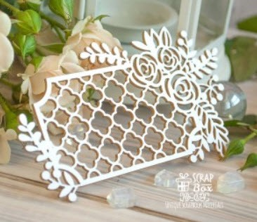 Chipboard openwork lattice with flowers Hb-034
