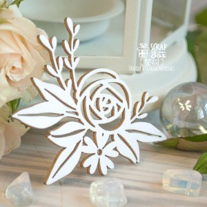 Chipboard Flower arrangement with rose Hf-151