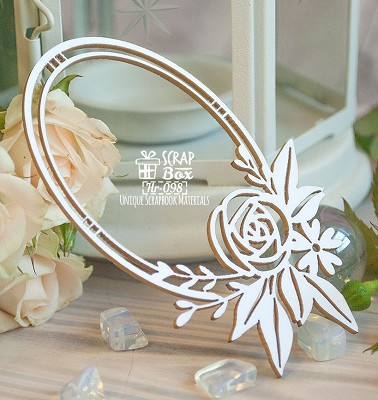 Chipboard Oval frame with flowers Hr-098