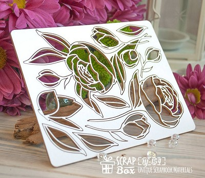 Chipboard set of peony flowers Hf-154