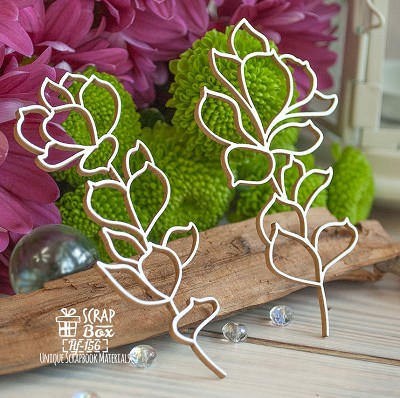 Chipboard sprigs succulent 2 pcs. Hf-156