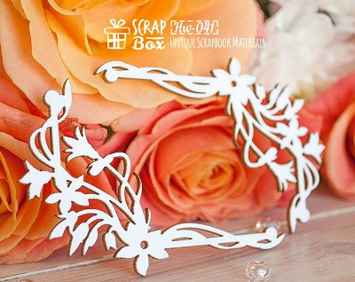 Chipboard corners with flowers Hw-041