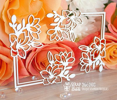 Chipboard corner with magnolias Hw-045