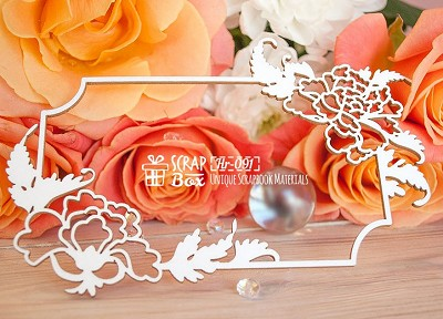 Chipboard frame with Japanese roses rectangular Hr-091