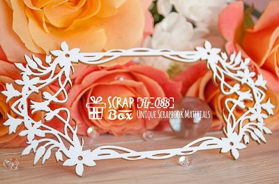 Chipboard frame with flowers rectangular Hr-088