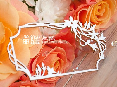 Chipboard frame with flowers rectangular Hr-086