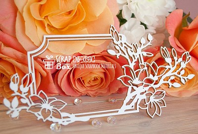 Chipboard frame with magnolias rectangular Hr-094