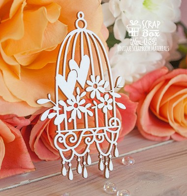 Chipboard bird cell with pendants Hm-059